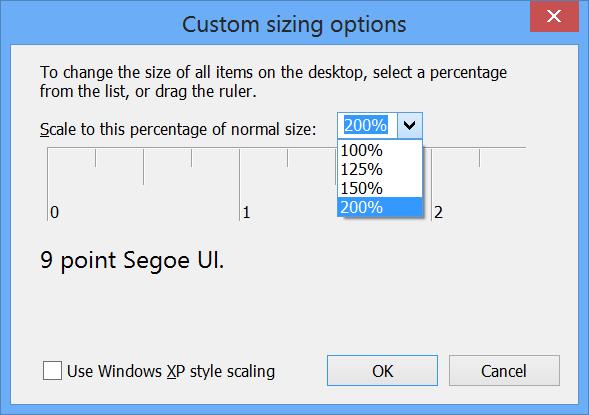 Windows 8 Sizing Options