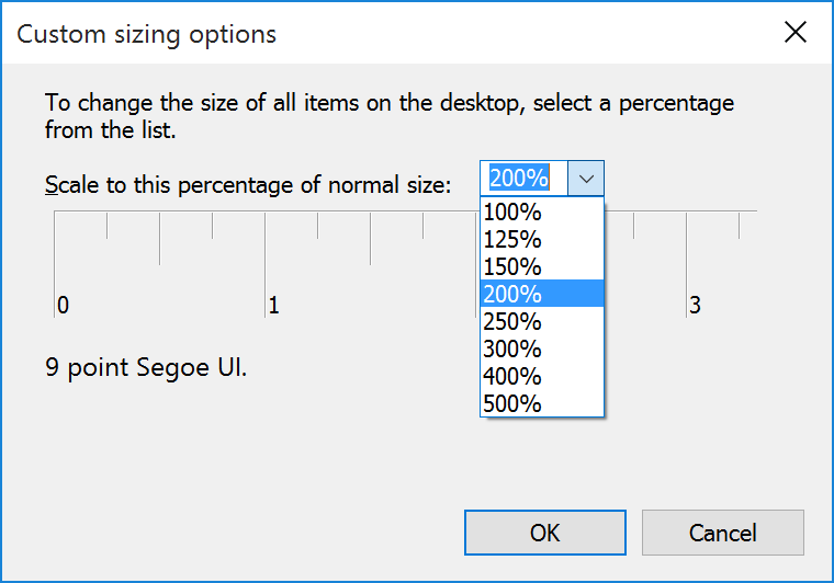 Windows 10 Sizing Options